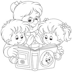 Grandma and grandchildren reading