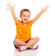 little girl arms up