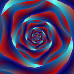 Red and Blues Spiral Rose