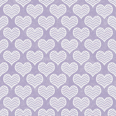 Purple and White Chevron Hearts Pattern Repeat Background