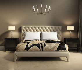 Contemporary elegant luxury beige and grey bedroom