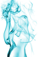 abstract sea green smoke isolated on white background