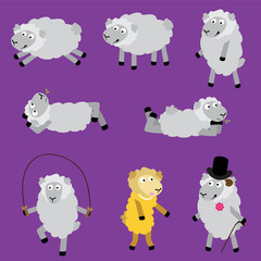 Lambs personalities. Vector set