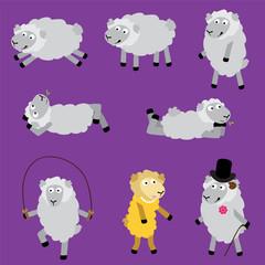Lambs personalities. Vector set