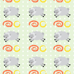 Pattern with running lambs