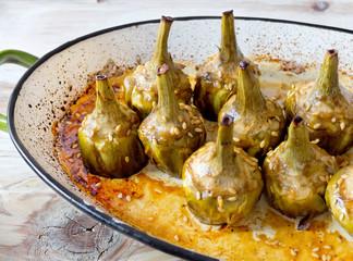 Caramelized artichokes baked.