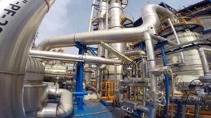 Walking in chemical plant structure process area