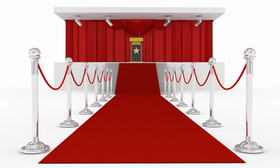 red carpet and red curtain stage