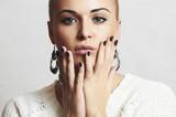 Beautiful Woman with Manicure.Beauty Jewelry.Shellac Nail Design