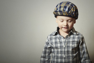 Child. Fashionable Little Boy in Cap. Fashion Children