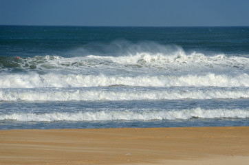 Beautiful ocean beach with waves in South Africa