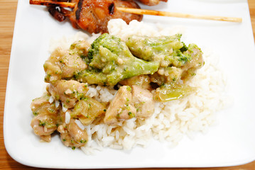 Chicken and Broccoli Over Steamed Rice
