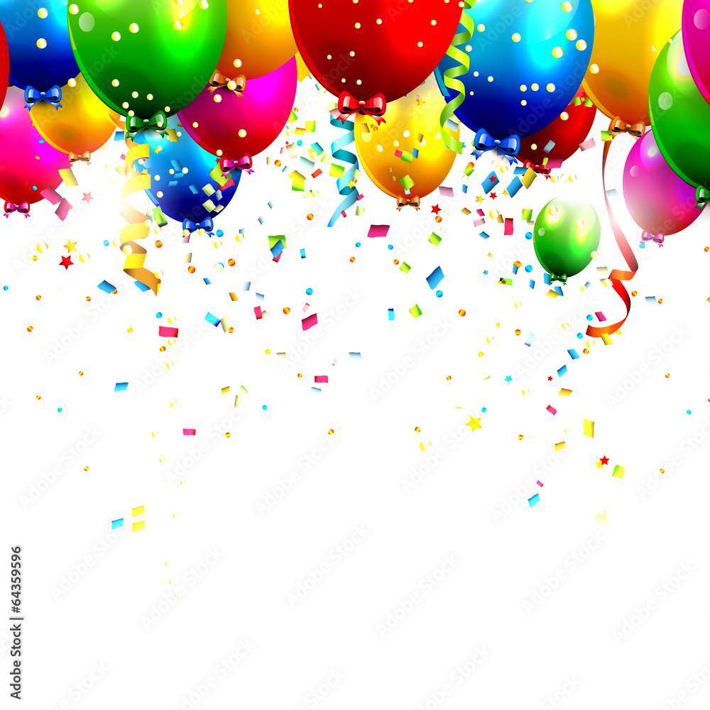 Colorful birthday balloons and confetti wall sticker wall stickers colorful birthday balloons and confetti wall sticker amipublicfo Images