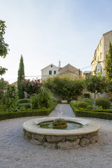 cosy yard with fountain in Sibenik, Republic of Croatia