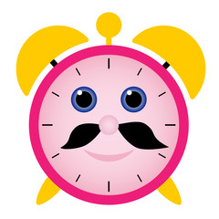 funny alarm clock with happy face, black beard and blue eyes