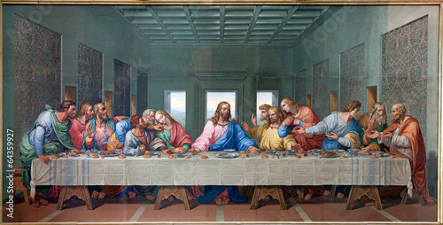 Canvas Europese Plekken Vienna - Mosaic of Last supper - copy Leonardo da Vinci
