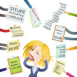 Frau, Schulden, Rechnungen, Stress, Gläubiger