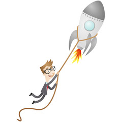 Businessman holding on to launching rocket