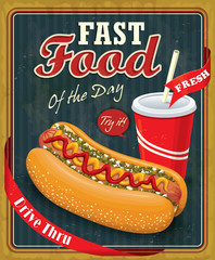 Vintage hot dog poster design