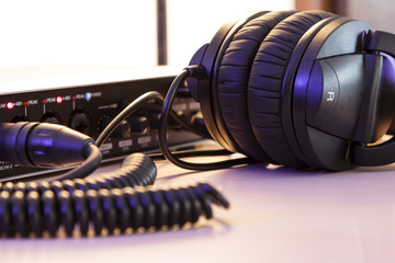 Audio interface and headphones, home studio - processed colors