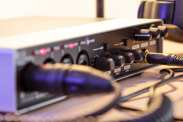 Audio interface and cables, home studio - processed colors