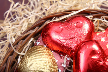 home made chocolates packed in weaving basket