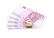 Euro bills and dollar gold trinket.