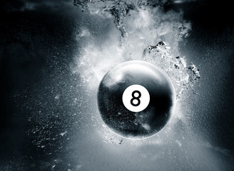 pool ball underwater