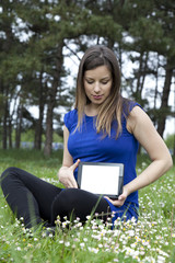 Using tablet computer in park