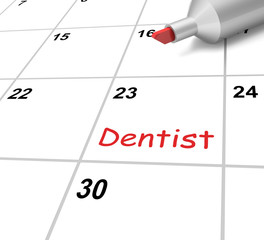 Dentist Calendar Means Dental And Teeth Checkup