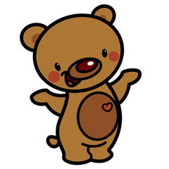 Cartoon vector cute brown happy lovely baby bear with heart