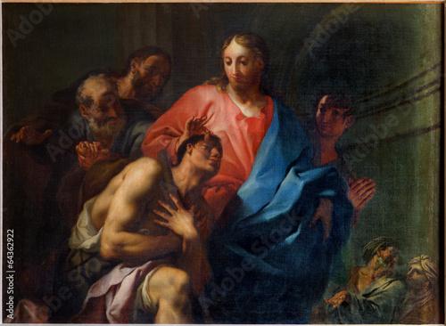 Leinwanddruck Bild Venice - Miracle of Christ Healing the Blind i