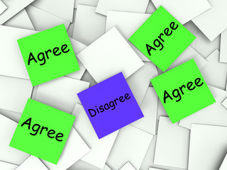 Agree Disagree Post-It Notes Show Supporting Or Contrary To