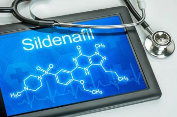 Tablet mit der chemischen Strukturformel von Sildenafil