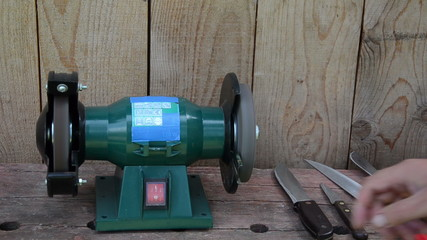 Hand grinder knives with electric tool and check sharpness