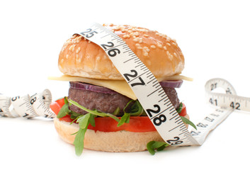 Burger with measuring tape