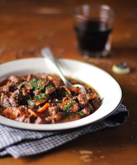 Portion of traditional irish beef and guinness beer stew