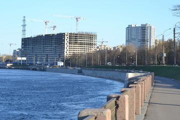 Embankment of Neva River, outskirts of St.Petersburg.