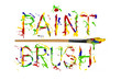 Colorful paint splash painted word paintbrush