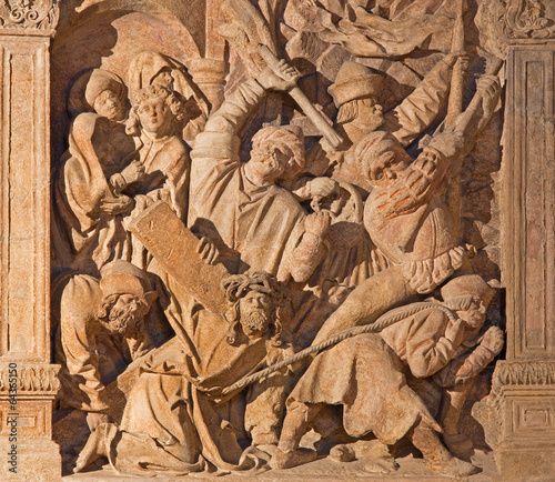 Vienna - reliefs of Jesus under cross from cathedral