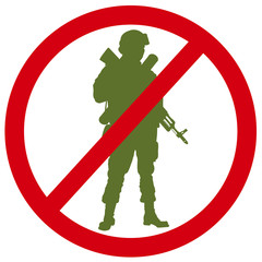 Forbidden sign with soldier silhouette. Anti-war concept. EPS 8