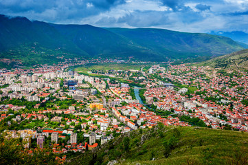 The view from high on the city of Mostar in Bosnia and Herzegovi