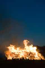 Huge bonfire with easter