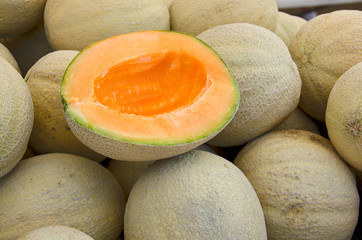 ripe muskmelon at the market