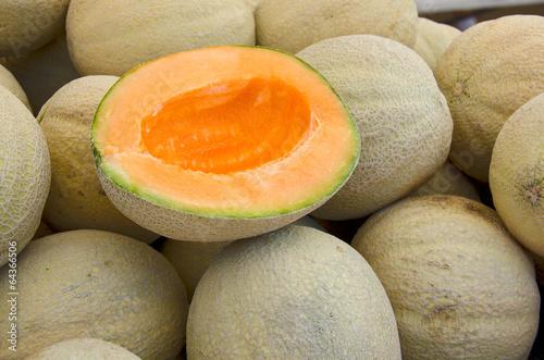 ripe muskmelon at the market