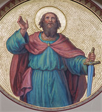 Vienna - Fresco of st. Paul the apostle from begin of 20. cent.