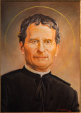 Bologna - portrait of Saint Don Bosco in st. Peters church
