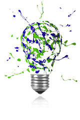 Green blue paint splah made light bulb