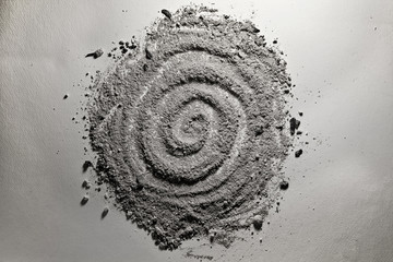 Gray spiral fom made of ash