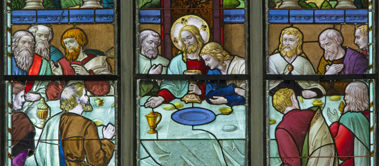 Brussels - Last supper from in St. Rumbold's cathedral